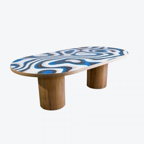 Piatro Racetrack Mosaic Dining Table