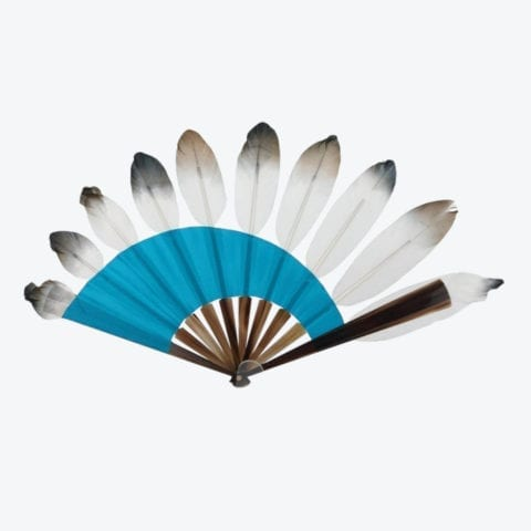 Blue Asymmetrical Graphic Feathers Hand-Fan