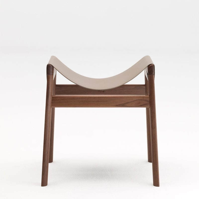 The Invisible Collection Dartagnan Stool David Haymann walnut noyer leather cuir chêne oak