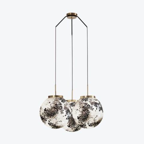 Ceiling Lamp King Sun Murano x3 Black And White