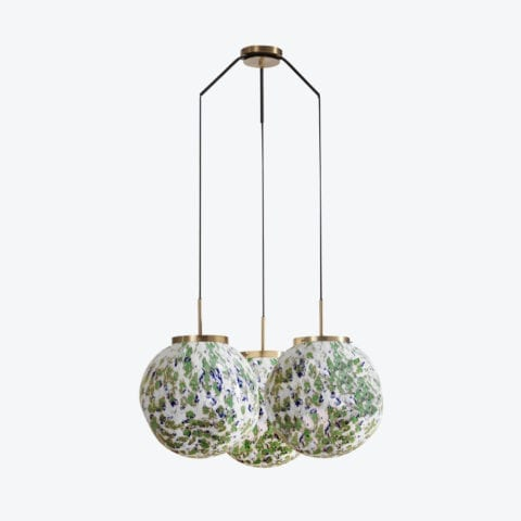 Ceiling Lamp King Sun Murano x3 Green And Blue