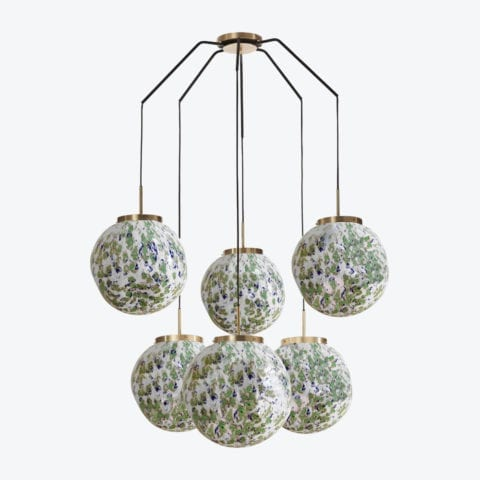 Ceiling Lamp King Sun Murano x6 Green And Blue