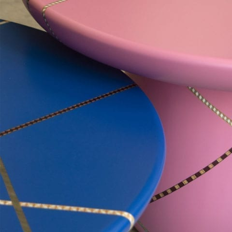 Marquetry Mania Low Table Pink by Nada Debs - The Invisible Collection