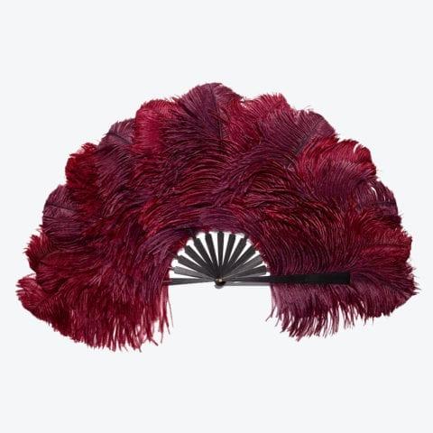 Burgundy Ostrich and Ebony Hand-Fan