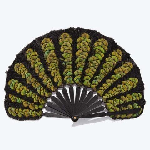 Green Feather Balloon Hand-Fan