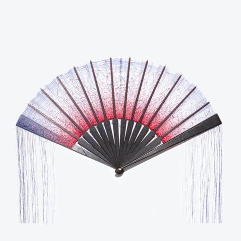 Red and Blue Pigment Hand-Fan