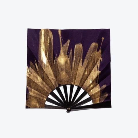 Violet Golden Square Hand-Fan