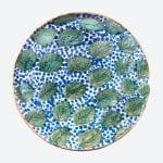 Plat Bleu & Feuilles Vertes
