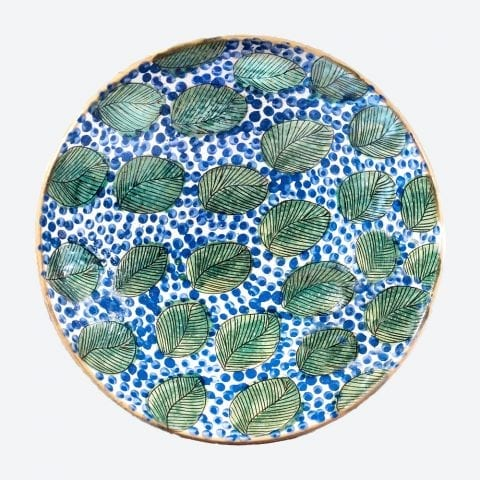 Green Leaves & Blue Serving Plate